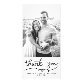 Simple Thank You Typography Wedding Personalized Photo Card