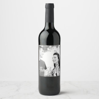Simple Thank You Wedding Wine Bottle Labels