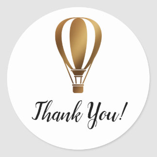 Simple Thank You with Smooth Gold Hot Air Balloon Classic Round Sticker