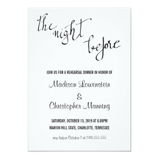 Simple The Night Before Script Rehearsal Dinner Card