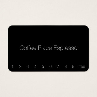 Simple Thin Dark Loyalty Coffee Punchcard Business Card