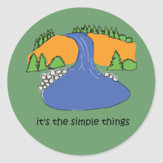 Simple Things - Waterfall Classic Round Sticker