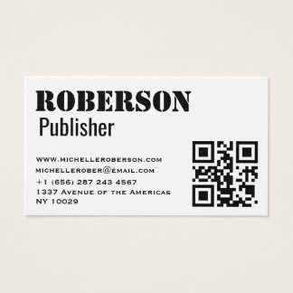 Simple traditional white card with qr code