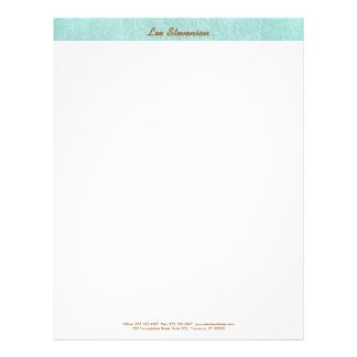 Simple, Turquoise Blue, Linen Look, Minimalist Personalized Letterhead