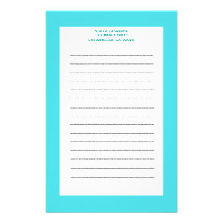 simple turquoise stationery