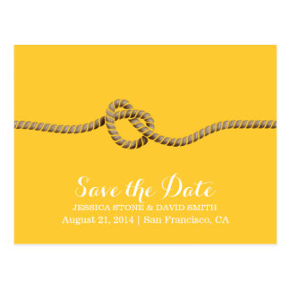 Simple Twine Knot Yellow Save the Date Wedding Post Cards
