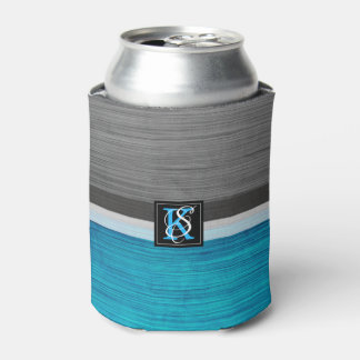 Simple Two Tone Blue and Grey Initials Monogram Can Cooler