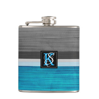 Simple Two Tone Blue and Grey Initials Monogram Hip Flask