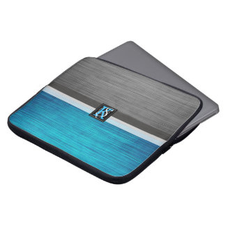 Simple Two Tone Blue and Grey Initials Monogram Laptop Sleeve