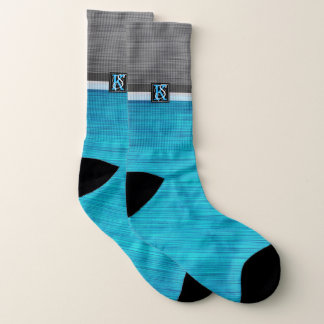 Simple Two Tone Blue and Grey Initials Monogram Socks
