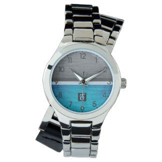 Simple Two Tone Blue and Grey Initials Monogram Watch