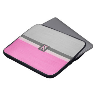 Simple Two Tone Pink and Grey Initials Monogram Laptop Sleeve