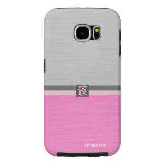 Simple Two Tone Pink and Grey Initials Monogram Samsung Galaxy S6 Case