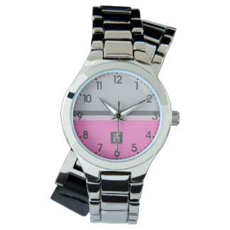 Simple Two Tone Pink and Grey Initials Monogram Watch