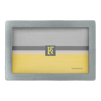 Simple Two Tone Yellow and Grey Initials Monogram Belt Buckle