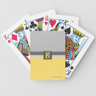 Simple Two Tone Yellow and Grey Initials Monogram Bicycle Playing Cards