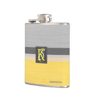 Simple Two Tone Yellow and Grey Initials Monogram Hip Flask