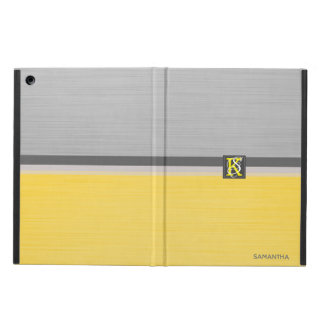 Simple Two Tone Yellow and Grey Initials Monogram iPad Air Cover