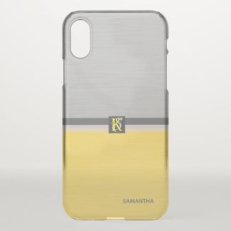 Simple Two Tone Yellow and Grey Initials Monogram iPhone X Case