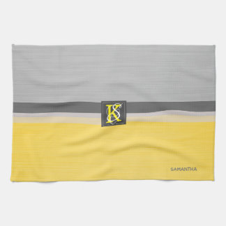 Simple Two Tone Yellow and Grey Initials Monogram Kitchen Towel