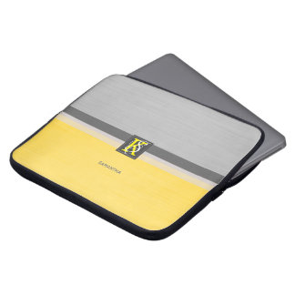 Simple Two Tone Yellow and Grey Initials Monogram Laptop Sleeve