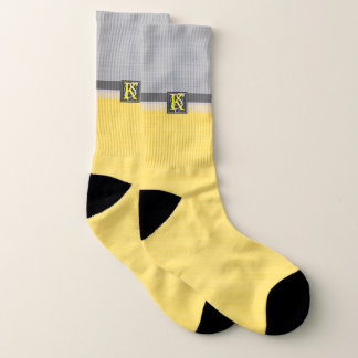 Simple Two Tone Yellow and Grey Initials Monogram Socks