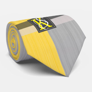 Simple Two Tone Yellow and Grey Initials Monogram Tie