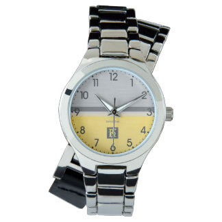 Simple Two Tone Yellow and Grey Initials Monogram Watch