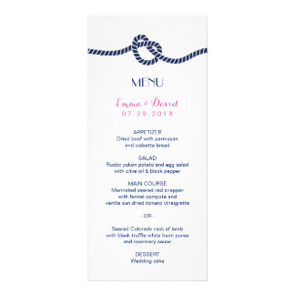 Simple Tying the Knot Classy Nautical Wedding Menu