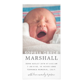 Simple Type and Photo Birth Announcement Card