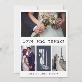Simple Typewriter Text Wedding Thank You | 4 Photo