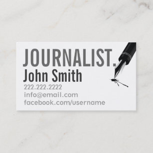 Newspaper journalist business cards business card printing zazzle ca simple typographic journalist business card reheart Images