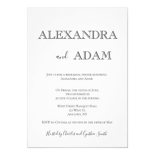 Simple typography rehearsal dinner invitations