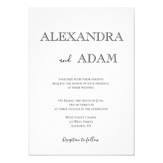 Simple typography wedding invitations