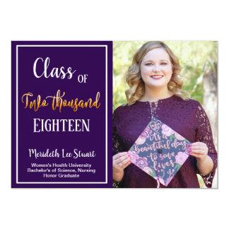 Simple Ultra Violet Photo Graduation Announcement