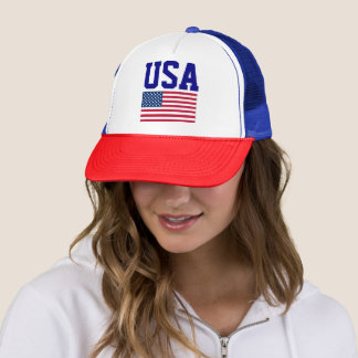 Simple USA Letters American Flag Red White Blue Trucker Hat