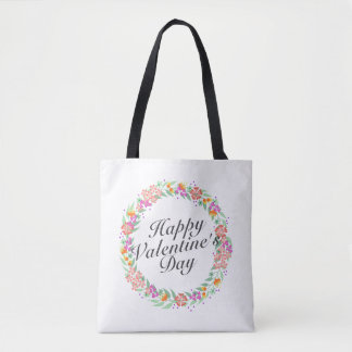 Simple Valentine's Day Floral Wreath Tote Bag