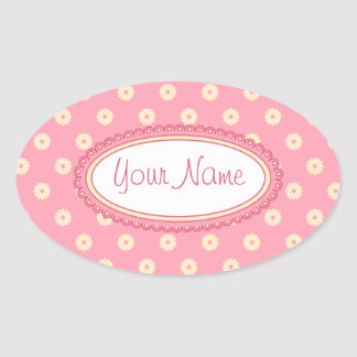 Simple Vector Daisy Flowers in Yellow on Pink Oval Sticker