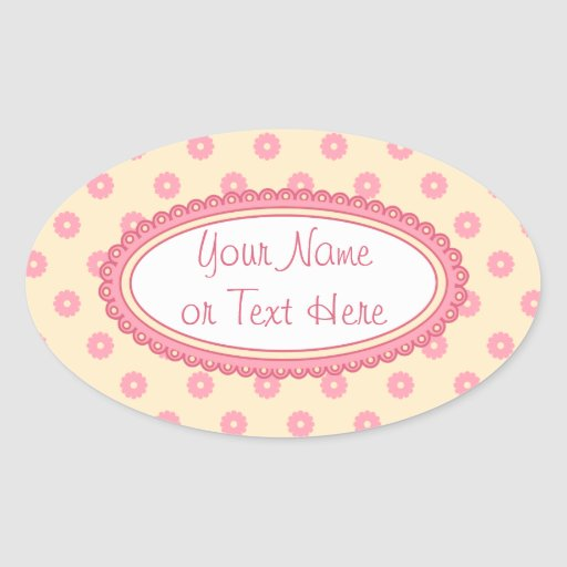 Simple Vector Daisy Flowers in Yellow & Pink Oval Sticker