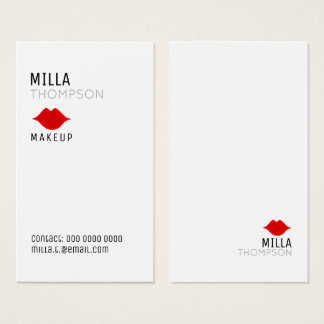 simple vertical makeup artist salon white pro business card