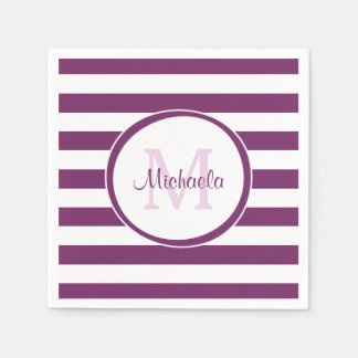 Simple Violet Name Bengal Stripes With Monogram Disposable Napkins