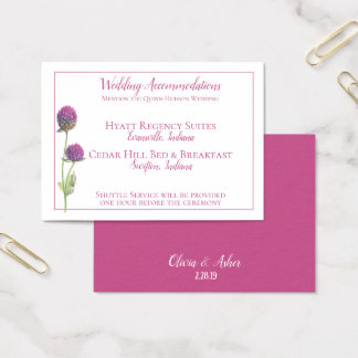 Simple Watercolor Amaranth Thistle Flower Wedding Business Card