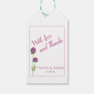 Simple Watercolor Amaranth Thistle Flower Wedding Gift Tags
