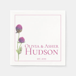Simple Watercolor Amaranth Thistle Reception Paper Napkin