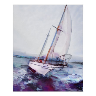 Simple watercolor and ink of Leaning Sailboat Poster
