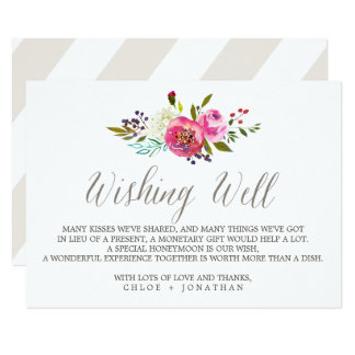 Simple Watercolor Bouquet Wedding Wishing Well Card