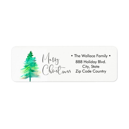 Simple, Watercolor Christmas Pine tree Return Address Label