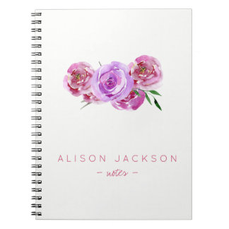 Simple watercolor floral bouquet mauve blush notebook