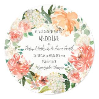 Simple Watercolor Floral Wedding Card