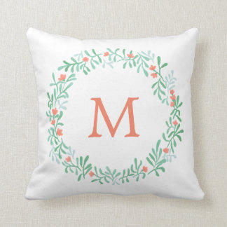 Simple Watercolor Floral Wreath | Monogram Throw Pillow